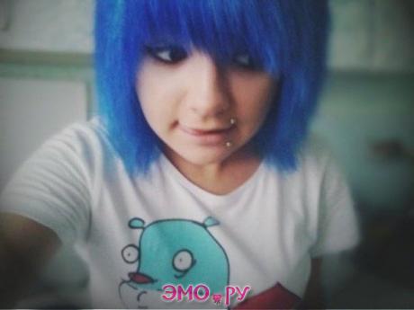 синий волос